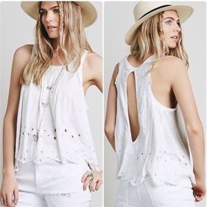 {Free People} Attina Eyelet Tank Top Sz S